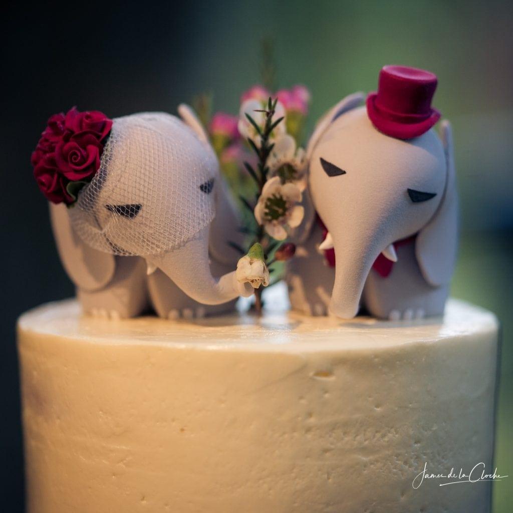 Wedding Cake With Elephant Decorations